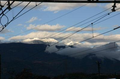 竜王駅からの鳳凰冠雪