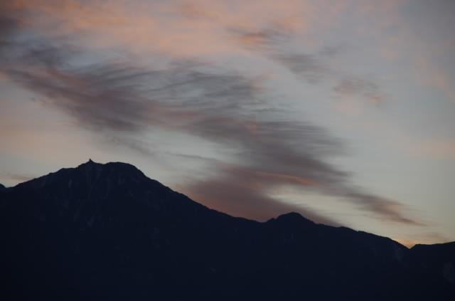 正月南アルプス夕景